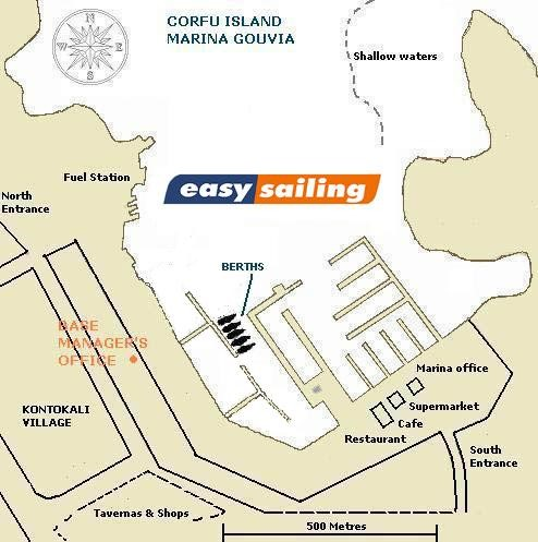 Draft map of charter base EASY SAILING in Marina gouvia Corfu Ionian Greece