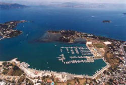 Aerial view of Marina Gouvia Corfu island Sailing Greece