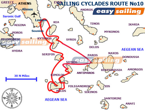 10 days sailing yacht holidays in the Greek islands - Cyclades