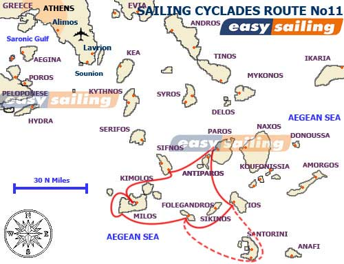 sailing the Greek islands suggested route from Paros bas island to Santorini island by ysail yacht