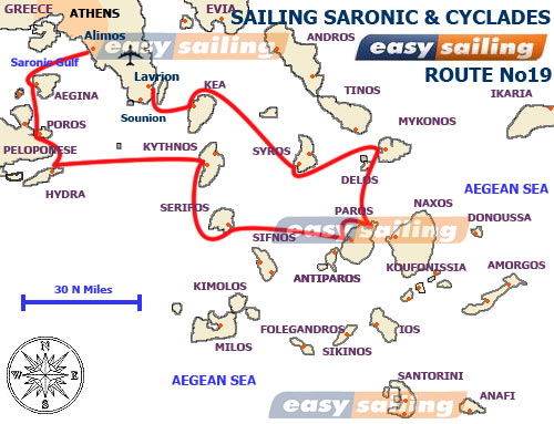 Map of sailing yacht holidays Cyclades Greek islands