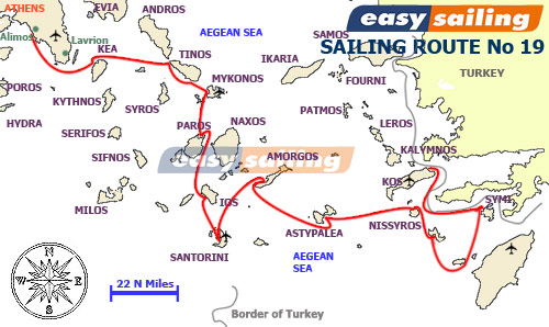 One Way sailing charter Athens-Cyclades-Dodecanese