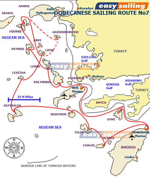 Sailing Yacht Charter route/itinerary Dodecanese departure Kos 2 weeks