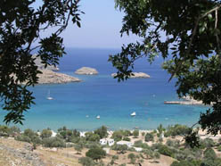 Lindos bay in Rhodos island Dodecanese yachting in the Greek islands