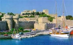 View of the Rhodos castle from the sea - Dodecanese Greece
