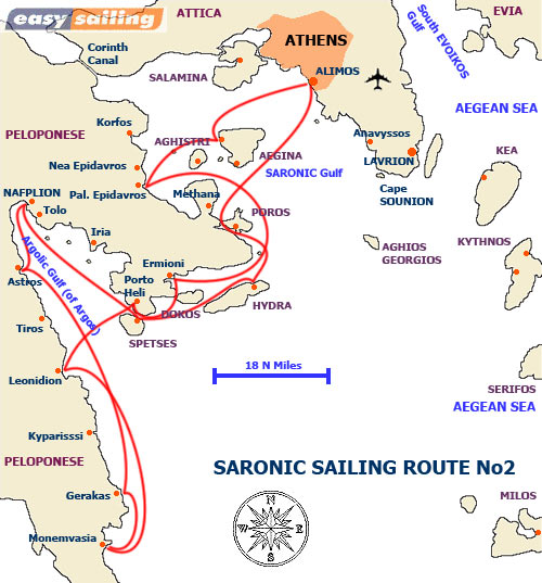 Saronic / Argolic Gulf Route No2 sailing out of Alimos marina