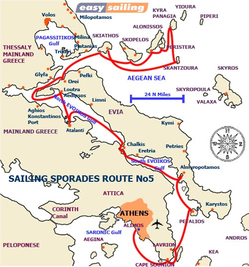 Sporades Sailing Itinerary No 5 - for 1 week charter ONE WAY SKIATHOS to LAVRION
