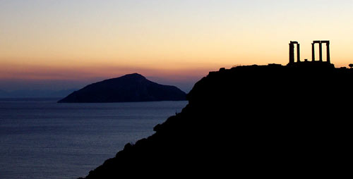 The famous Temple of Poseidon in Cape Sounion close to Lavrion